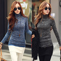 Invierno de las mujeres de Moda Suéter Delgado Superior 2016 Color Sólido del Cuello Alto de Manga Larga Que Basa la Camisa de Punto Jerseys Sweater Jumper
