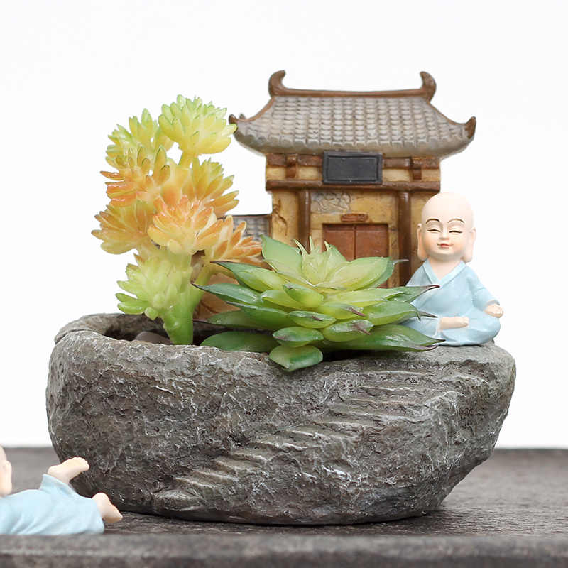 1 PC Buddhisme Kuil Resin Pot Bunga Succulent Tanaman Planter Biksu Pot Bunga Taman Rumah Fengshui Dekorasi Mini Bonsai Pot