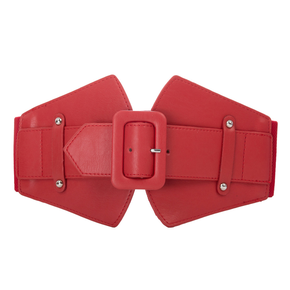 KK Red & black pure color Women Waistband party office Ladies wide   belts   Classic Buckle Stretchy Elastic Waist   Belt   for dresses