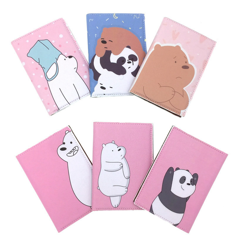 Cartoon Animal Brown Bears Passport Cover Wallet Bag ID Address Holder Portable PU Leather Baggage Boarding Travel Accessories