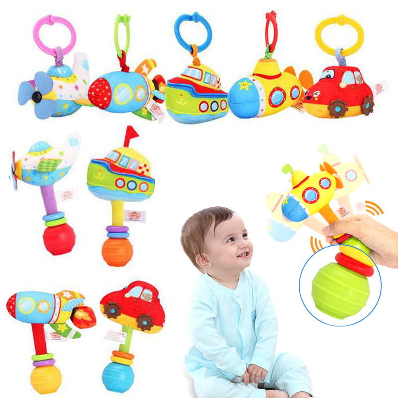 Car Rocket Boat Plane Submarine Baby Bed Stroller Hanging Toy Plush Infant Baby Handbell Rattles Handle Pull Hand Grip Toy I0022
