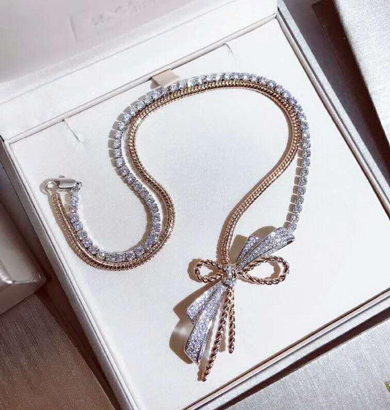 Collier de luxe à deux couleurs pour femmes en or rose décoration de soirée de luxe