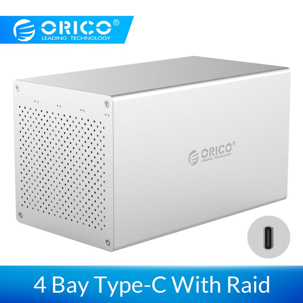 ORICO SATA To USB C 3.0 3.5' HDD Enclosure Support 4*10TB HHD Raid System 5Gbps High Speed Hard Disk Case With Mute Cooler Fan