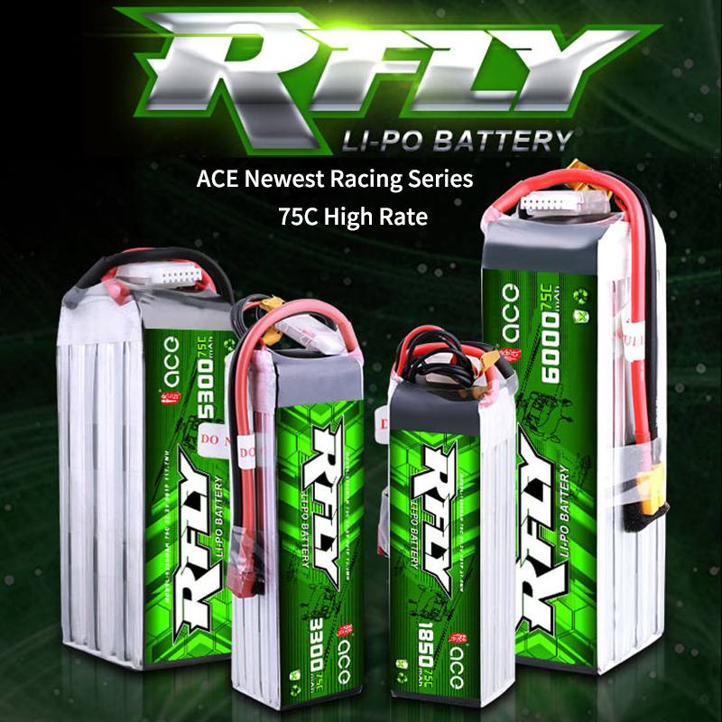 ACE RFLY R-fly <font><b>6S</b></font> Rechargeable <font><b>Lipo</b></font> Battery 1850mAh 3300mAh 5300mAh <font><b>6000mAh</b></font> 75C 700 Helicopter 70 90 Ducted Aircraft UAV Drone image