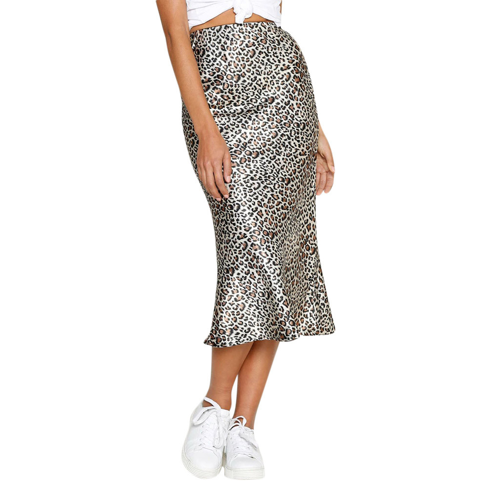 Women Casual Retro High Waist Leopard Printing Evening Party Long Skirt