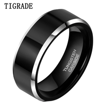 8mm Black Tungsten Carbide Mens Wedding Band Jewelry Ring Domed Engagement Big Promotion Deliver to USA Only