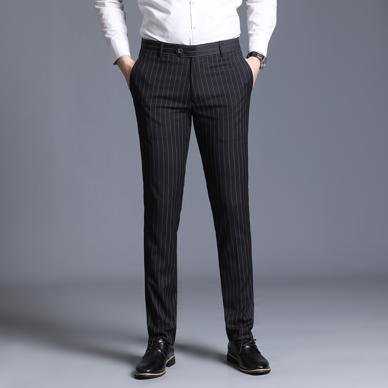 29-38 Streetwear Formal Dress Pants Men Fashion Pocket Side Office Trousers Men Stretch Striped Wedding Pant For Business Man