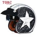 TORC brand moto helmet ECE open face vintage motorcycle helmets motocross helmet capacete motorcycle Internal visor black lens