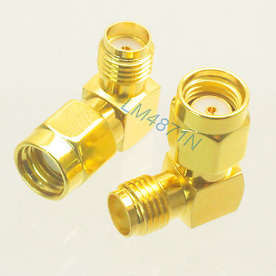Adapter 10x 90 RP.SMA male Jack to SMA female jack RF connector right angle M/F 5 x rf antenna fm tv coaxial cable tv pal female to female adapter connector