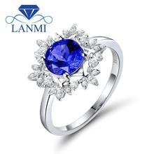 Natural AAA Tanzanite Rings 18K White Gold Round 7mm Natural Diamond Tanzanite Ring Fine Tanzanite Jewelry WU271