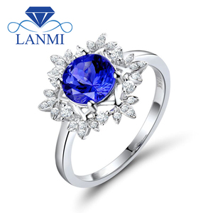 Image 1 - Natural AAA Tanzanite Rings 18K White Gold Round 7mm Natural Diamond Tanzanite Ring Fine Tanzanite Jewelry WU271