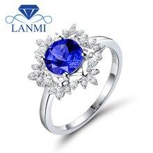 Natural aaa tanzanita anéis 18 k ouro branco redondo 7mm diamante natural tanzanita anel fino tanzanita jóias wu271