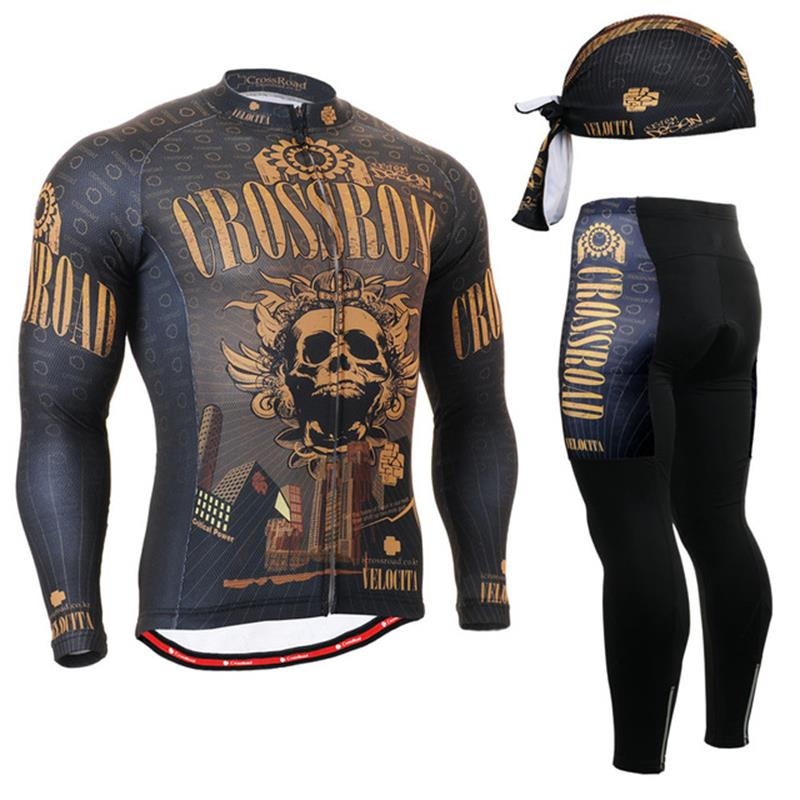 ФОТО Life on Track Brand Cycling Jersey Sets Long Sleeve Plus Size Cycling Jersey MTB Cycling Clothing skullsCycling Set Pro Team Men
