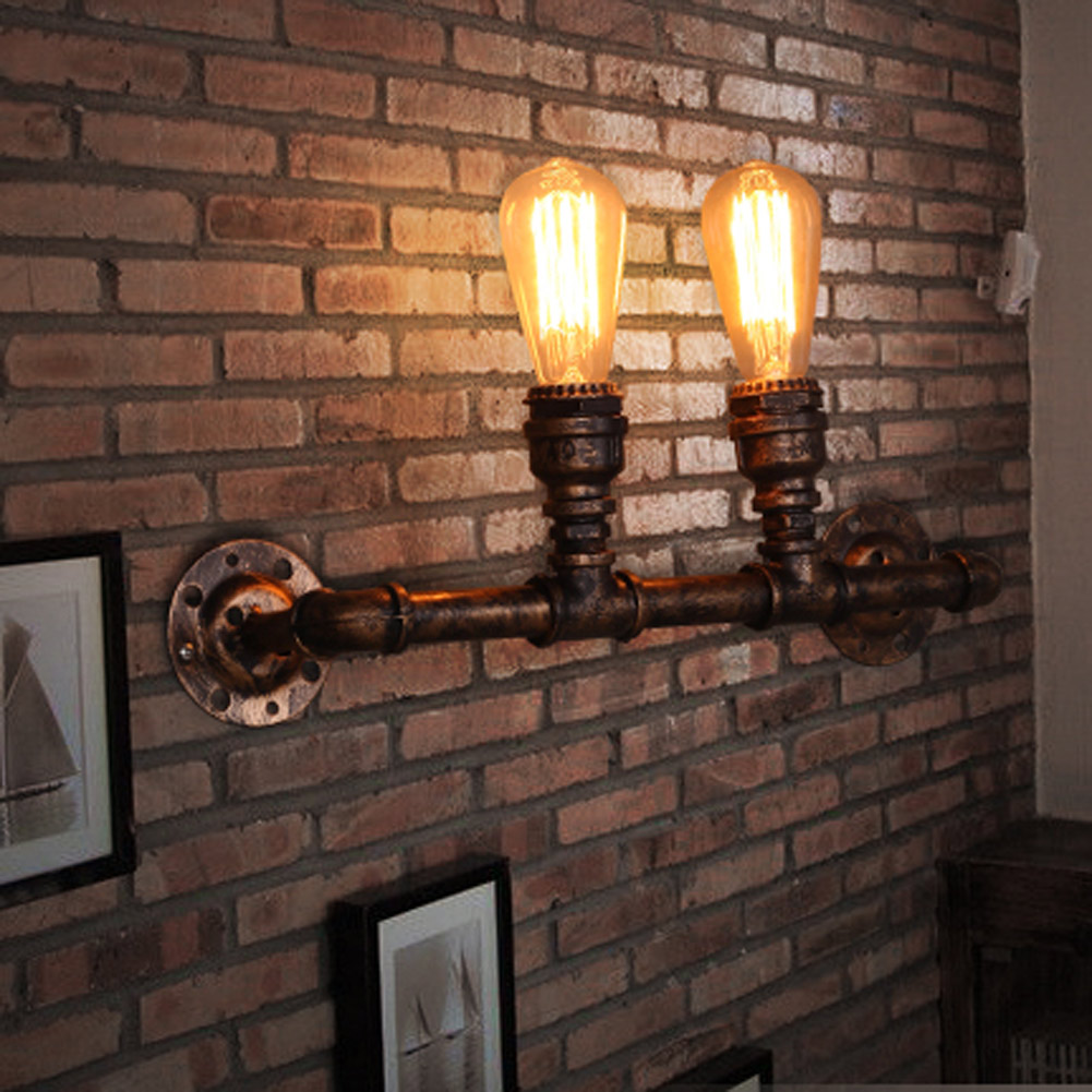 Nordic Loft Style Industrial Water Pipe Lamp Vintage Wall Light For Home Antique Bedside Edison Wall Sconce Indoor Lighting nordic loft style industrial water pipe lamp vintage wall light for home antique bedside edison wall sconce indoor lighting