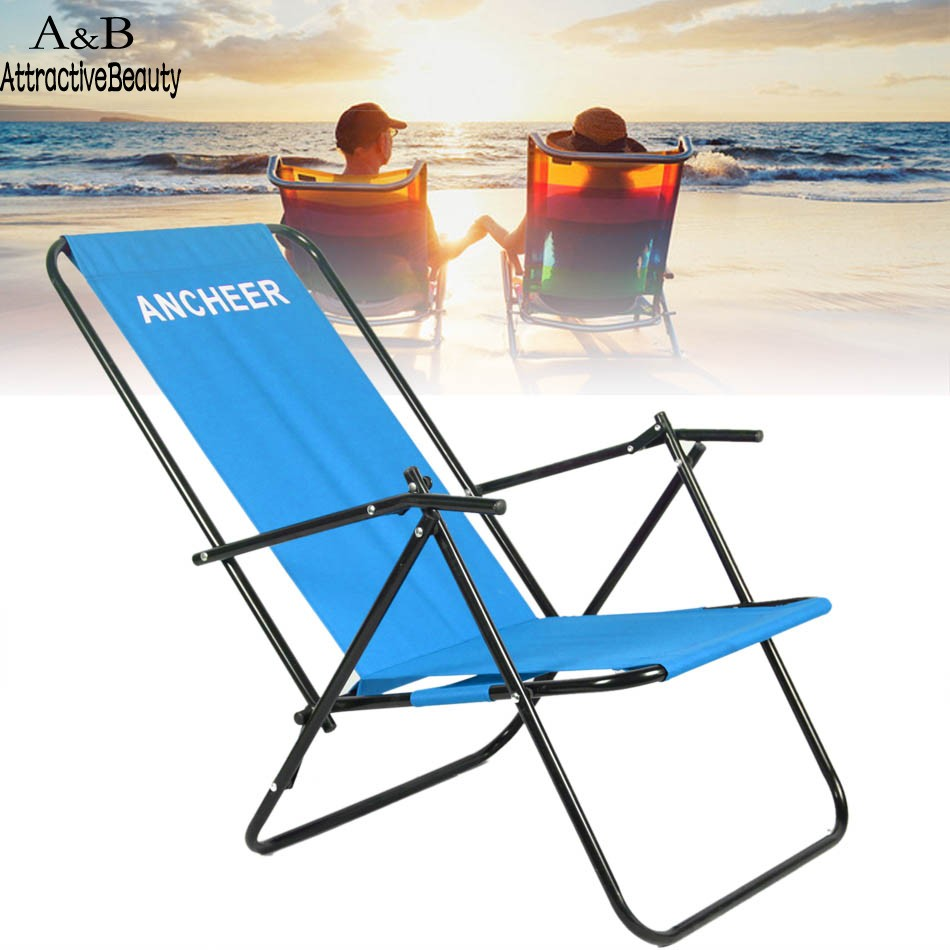 Beach lounge chair portable - Ancheer Portable Chair Outdoor Furniture Camping Folding Recliner Beach Chair With Armrest China Mainland