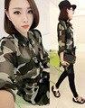 Militar de camuflagem mulheres moda casual blusas blusas femininas tops 2017 Blusa camisas de Verão com Cinto