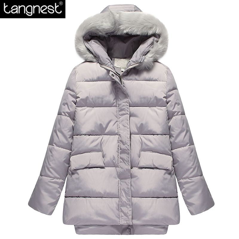 ФОТО TANGNEST Plus Size Thick Long Parkas 2017 Fashion Woman Winter Padded Coat Warm Loose Faux Fur Hooded Casual Solid Coats WWM1456