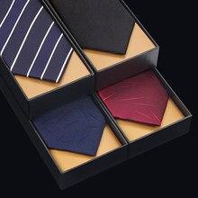 NEW Designer Fashion Brands 7cm Ties Luxury Formal Tuxedo Wedding Party Tie for Men Blue Striped Necktie Top Quality Gift Box