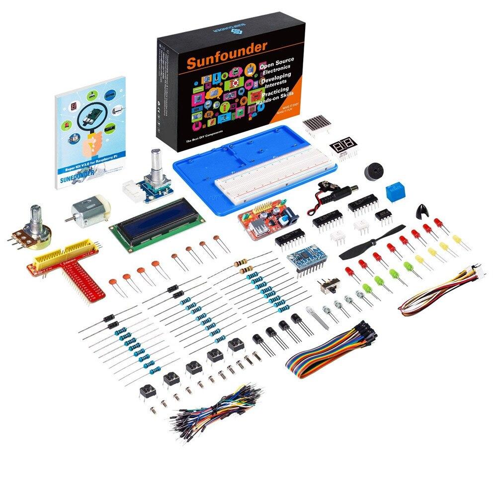 SunFounder Super 3 Iniciado Aprendizagem Kit para Raspberry Pi Modelo B + Plus Kit para Rpi 3 2 1 B + UM Zero Com Livro de instruções