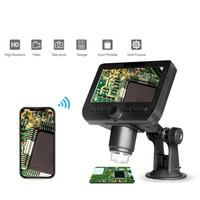 1000X 2.0MP Wireless WiFi Microscope 4.3 inch HD Screen 8 LED Light 1080p Camera Magnifier with Suction Cup Base