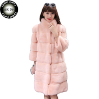 Casual Faux Rex Rabbit Fur Coat Women 2018 Fashion Winter Clothing Party Fake Fur Coat Furry Luxury Women Fake Fur long Jacket