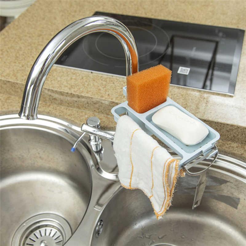 Image 3 - Kitchen Storage Rack Towel Soap Dish Holder Kitchen Bathroom Sink Dish Sponge Storage shelf Holder Rack Robe Hooks Sucker-in Racks & Holders from Home & Garden