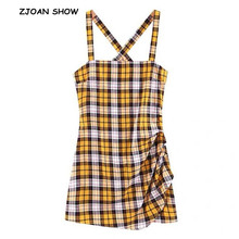 Dress Vintage Gingham Fold Yellow Spaghetti-Strap Backless-Sling Ruched Plaid Mini Women