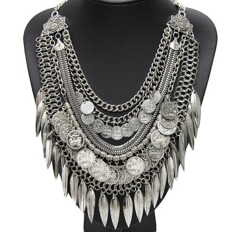 Women Gypsy Necklace Fashion Jewelry Bohemian Antique Silver