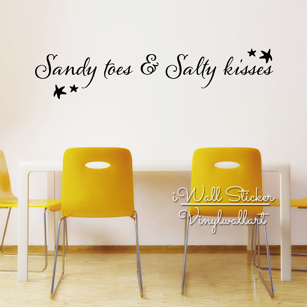 Sandy Toes & Salty Kisses Quotes Wall Decal Beach Quote Wall Sticker ...