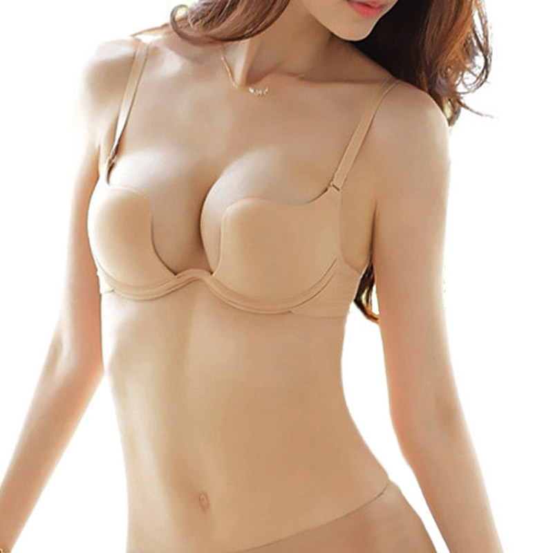 Buy SILVERCELL Sexy Women Bra Deep U Low Cut Super Push Backless Bra Brassiere Sutian Underwear Bralette Sujetador