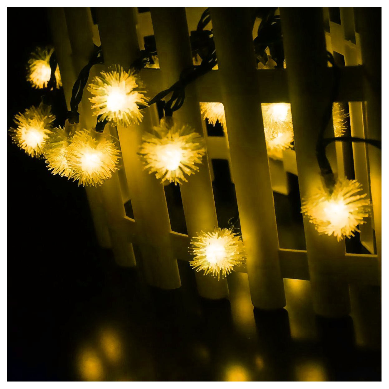 LED 4.8m 20 LED Solar Outdoor String Fairy Lights Snowball Solar Powered for Outside Patio Party Christmas Warm white Color