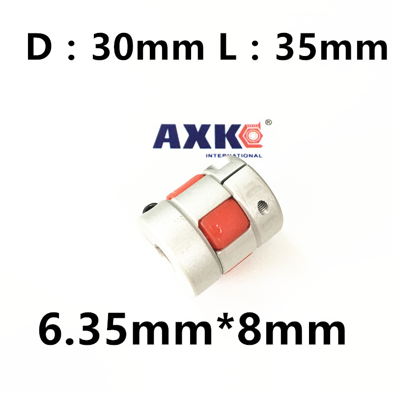 где купить  CNC Plum Shaft Flexible jaw spider Coupler 6.35mm*8mm Motor Coupling 6.35mm to 8mm Dia=30mm Length=35mm  по лучшей цене