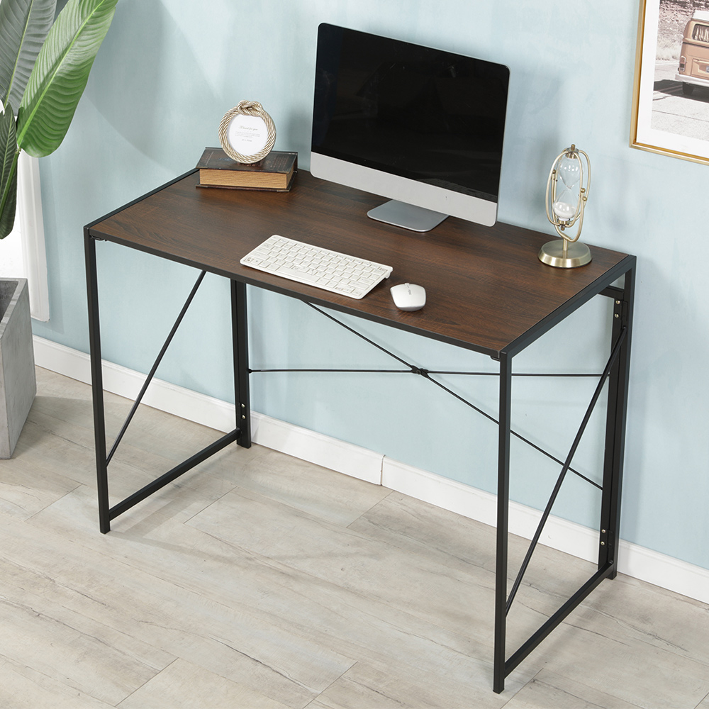 Simple Foldable Computer Desk Strong Construction Metal Frame PC Laptop Study Table For Home Office