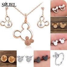 SMJEL Mini Animal Earing Mickey Earrings for Women Bijoux New Kids Earring Small Ear Studs Pendientes Cartoon Jewelry oorbellen