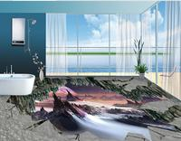 3d Flooring Customized Wallpaper Black White 3d Floor Tiles Wonderland Waterproof Wallpaper For Bathroom Vinyl Flooring
