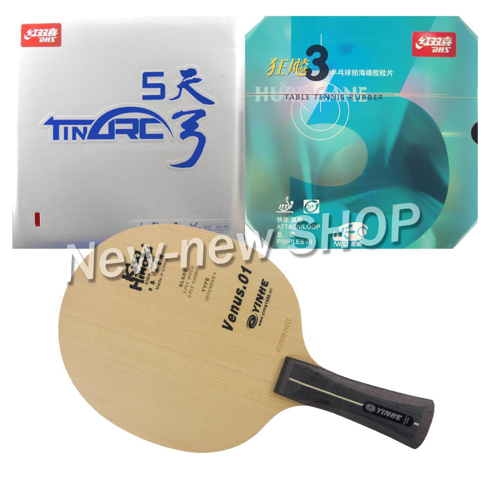 Galaxy YINHE Venus.1 Blade with DHS TinArc 5 and NEO Hurricane 3 Rubbers for a Racket Shakehand long handle FL pro table tennis pingpong combo racket galaxy yinhe venus 1 with dhs tinarc 5 and neo hurricane 3 long shakehand fl