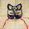 Half Face Japanese Style Hand-Painted Fox Mask Kitsune Black Gold Pattern Cosplay Masquerade for Party Halloween A1
