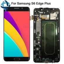 """5.7 """"لسامسونج غالاكسي S6 حافة زائد LCD G928 G928F عرض شاشة تعمل باللمس + الإطار الجمعية قطع غيار سامسونج S6 حافة زائد LCD"""