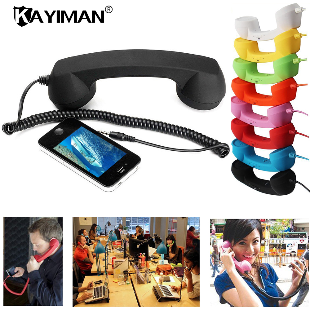 High Quality Retro  Comfort Telephone Handset 3.5mm Mini Microphone Speaker Phone Call Receiver for Smart Headphone MP3 KAYIMAN wireless retro telephone handset and wire radiation proof handset receivers headphones for a mobile phone with comfortable call