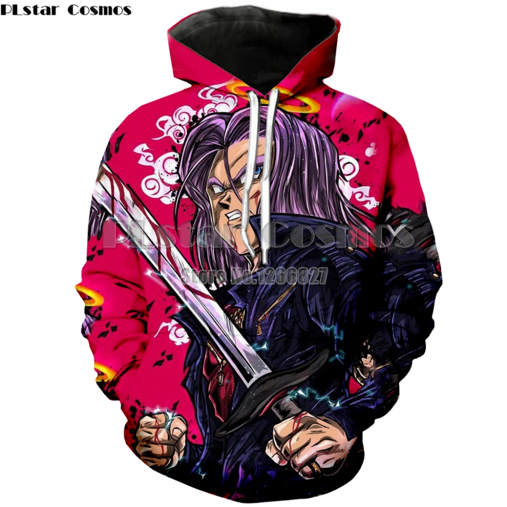 Anime Dragon Ball Z Pocket Hoodies Autumn Winter Hooded Sweatshirts Goku Vegeta Printed Men Women Long Sleeve Outwear 7XL