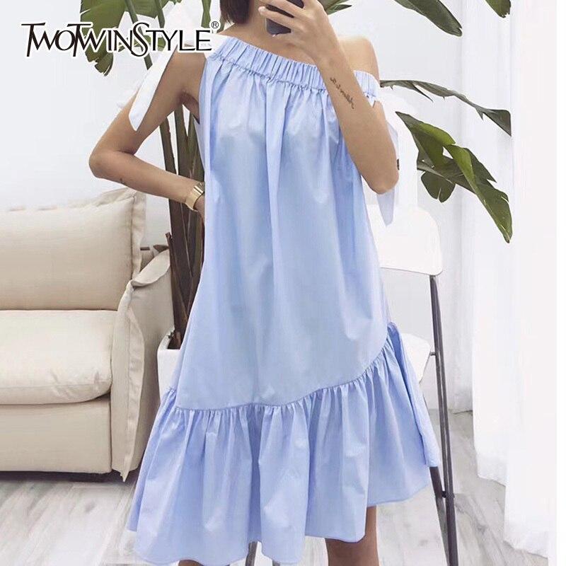 TWOTWINSTYLE Off Shoulder Dress Female Asymmetrical Lace Up Elastic Slash Neck Draped Midi Dresses Summer 2018 Fashion Sweet
