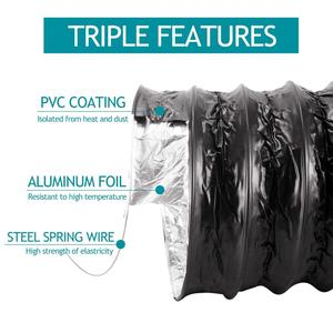 Image 4 - Fan Ducting; 5m 10m Aluminium Flexible Ventilation Ducting, PVC Air Ducting for Kitchen, Toilet, Hydroponics Extractor Fan Duct