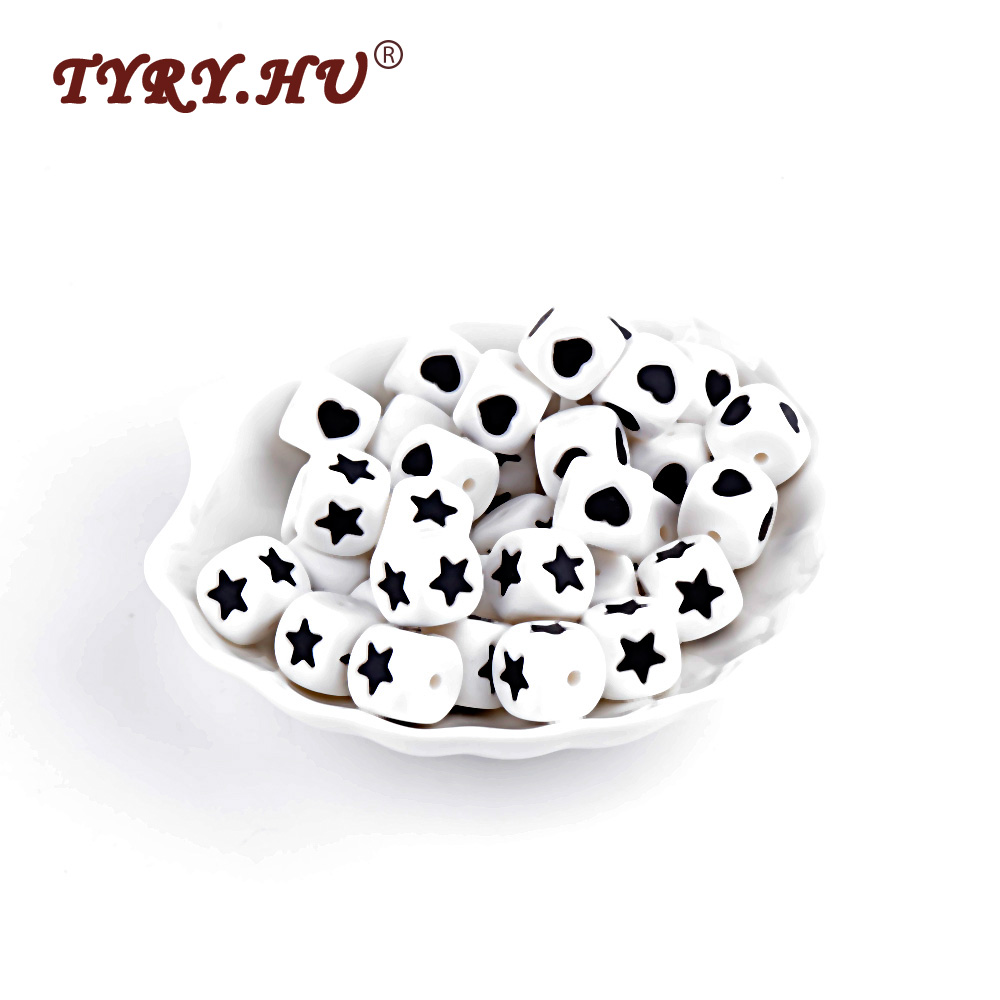 TYRY.HU 10Pcs Star&Heart Letter Beads Food Grade Silicone Teether Square Shape Silicone Baby Teething Oral Care DIY Jewelry Toy