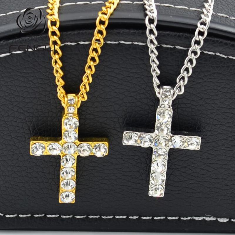 FENGLI Minimalist Cross Zircon Necklace Simple Geometric Pendant Gold Silver Women Bar Chic Necklaces Jewelry Drop Shipping