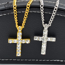 FENGLI Minimalist Cross Zircon Necklace Simple Geometric Pendant Gold Silver Women Bar Chic Necklaces Jewelry Drop Shipping