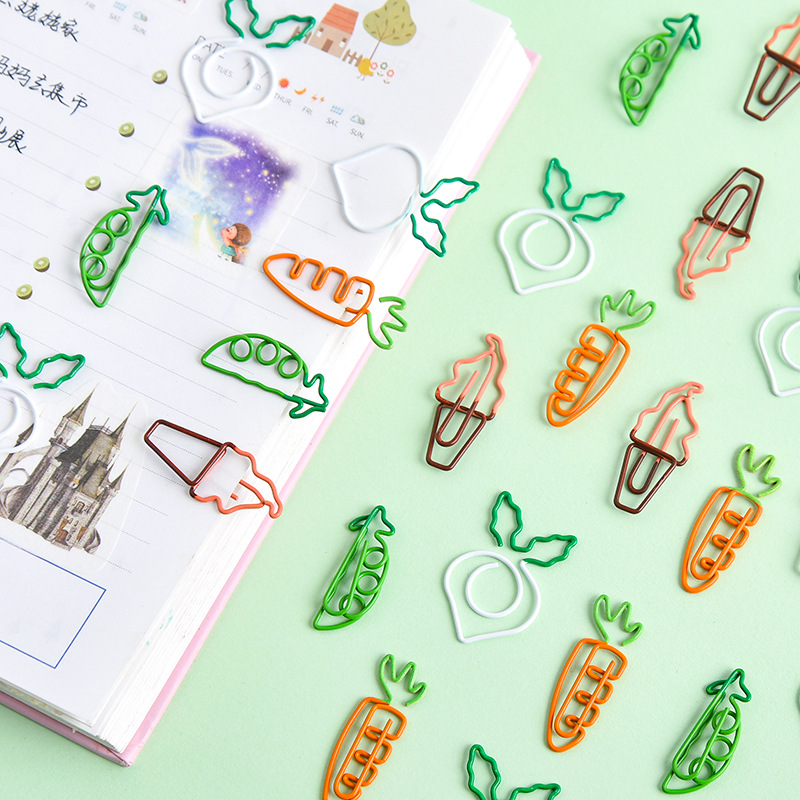 4pcs Korean Cartoon Cute Paper Clip Carrot Ice Cream Peas Paperclip White Radish Note Clip Student Office Stationery Bookmark
