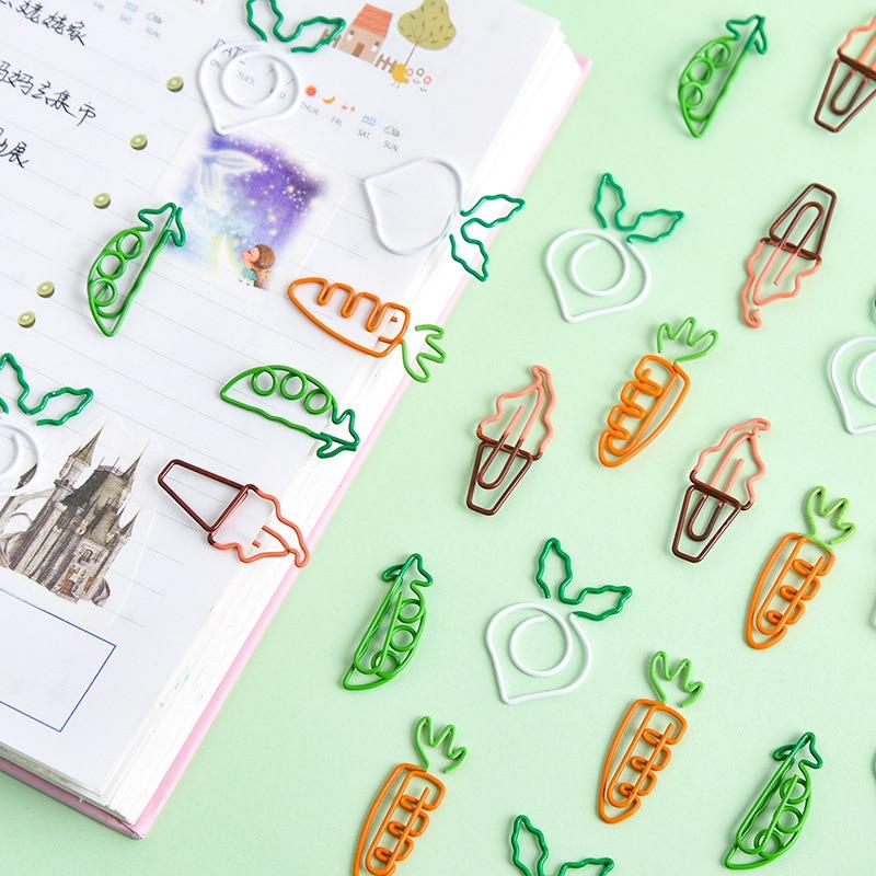 4pcs Korean Cartoon Cute Paper Clip Carrot Ice Cream Peas Paperclip White Radish Note Clip Student Office Stationery Bookmark