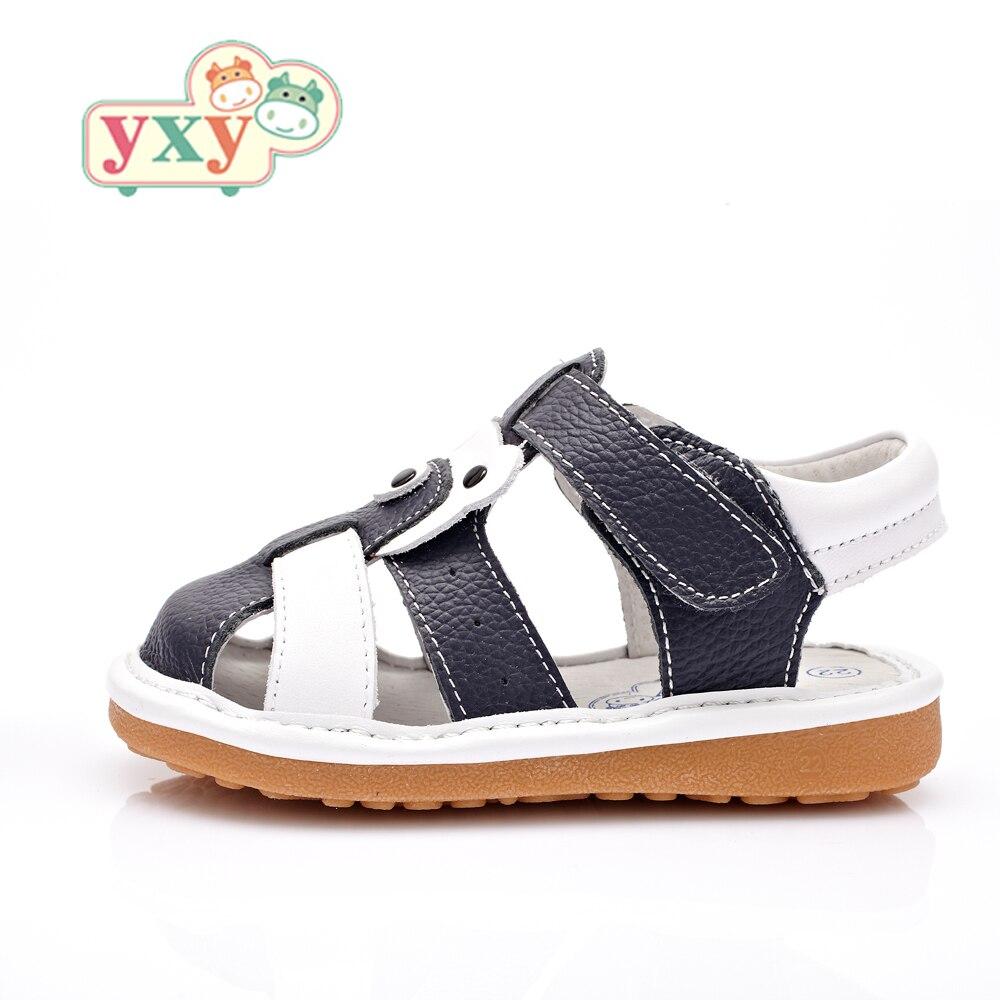 YXY marke sommer quietschende natürliche leder weiche sohle baby jungen mädchen kleinkinder anti-slip haken & schleife bär sandalen schuhe
