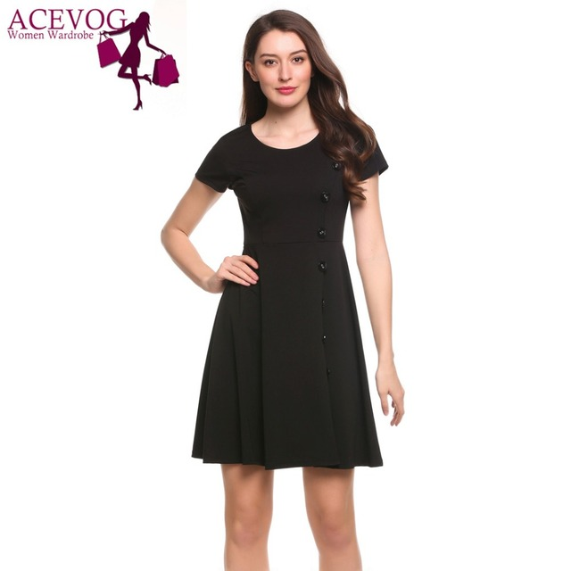 d90d0f04e0 ACEVOG Women Swing Dress Short Sleeve Side Button Solid Cocktail Party Knee  Length Skater Dress 5 Sizes