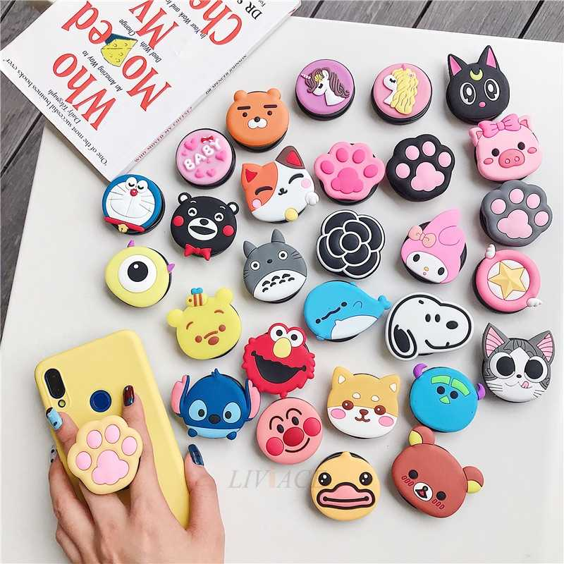 3D Kartun Lipat Finger Grip Mobile Phone Holder untuk Iphone Samsung Xiaomi Huawei Case Cute Silicone Holder Stand Bracket